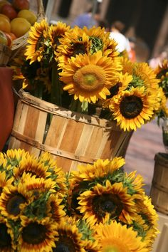 sunflowers at the Farmer's market #sunflowers #farmersmarket #farmersmarketfinds www.farmersmarketfinds.com Come visit my website today at silkflowersandwreaths.com