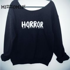 Horror Sweater Off the Shoulder Over Sized Loose Fitting Grunge ($35) ❤ liked on Polyvore featuring tops, sweaters, black, pullovers, women's clothing, off shoulder sweater, oversized sweaters, loose shirts, black off shoulder sweater and oversized black sweater