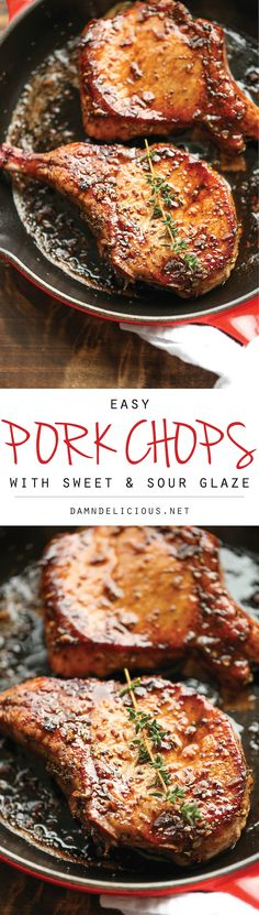 Easy Pork Chops with Sweet and Sour Glaze - The easiest, no-fuss, most amazing pork chops ever, made in 20 min from start to finish. You can't beat that!