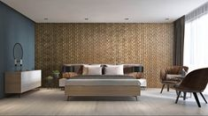 Wooden wall panel Dominus used in a bedroom to create a stunning 3D eco friendly oak feature wall.