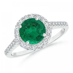 GIA Certified Round Emerald Halo Ring with Diamond Accents ($11,699) ❤ liked on Polyvore featuring jewelry, rings, round ring, diamond accent ring, emerald jewelry, 14k jewelry and round halo diamond ring