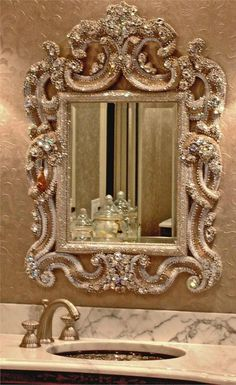 A diamond blinged out wall mirror for the bathroom, adds such GLAM!