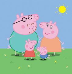 Cartoon Animated Peppa Pig & Family Vector Illustration - http://www.dawnbrushes.com/cartoon-animated-peppa-pig-family-vector-illustration/