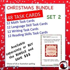 48 individual Task Cards to use in your Literacy and Math Centers. A Christmas Bundle of task cards for reading, Writing, Language and Math. These tasks are easier than my other bundle.Two months at least! Print, laminate, no more to do!A whole bundle of Christmas goodies!These tasks are varied,creative and FUN!They are nearly all stand-alone tasks, so do as many or as little as you like.