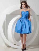 Robe demoiselle d'honneur A-ligne bleue en satin bustier de tenue adorable