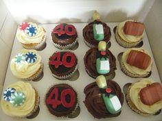 Las Vegas /40th Birthday themed chocolate & vanilla cupcakes.