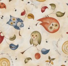 Shine - multicolored owls/butterflies/branches with leaves/music notes on mottled cream 26432MUL1