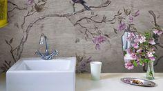 bathroom bird wallpaper - Google Search