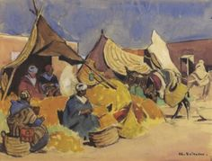 Le marché marocain von Edouard Edmond Doigneau