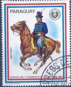 Stamp: Colonel of the 1st Volunteer Regiment (Paraguay) (Riders uniforms) Mi:PY 3124