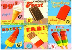 Vintage 1960's Ice Lolly Adverts A3 A4 Poster Art Reprint