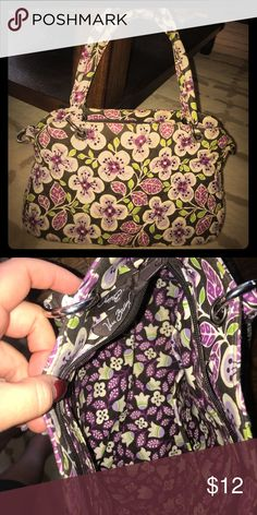 Vera Bradly Cute Purple Floral Handbag. Cute Vera Bradley Bag. Can be used as a crossbody but don't have the strap.  I use as a hand bag. Vera Bradley Bags Mini Bags