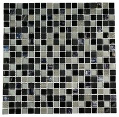 Metallic Etched Black Ice Blend Marble & Glass Tiles - contemporary - bathroom tile - by Glass Tile Store