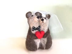 Needle felted Bear wedding cake topper bear cake by Felt4Soul