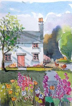 Orignal Watercolour Painting -Cottage Garden - by Annabel Burton