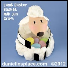 Easter Craft - Lamb Easter Basket Milk Jug Craft Kids Can Make www.daniellesplace.com
