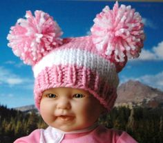 Baby Girl Hat Knit In Pink And White Pompom For Spring by PhylPhil, $24.00