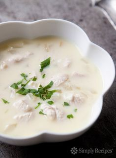 An easy version of the classic Greek avgolemono soup of chicken with rice or orzo pasta finished with egg and lemon. #ChickenSoup #Soup #ChickenRecipe #EasyDinner