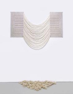 Aiko Tezuka, Vapor in 1920s, 2013, Entlochtenes Rolltuch, vermutlich aus den 20iger Jahren Deutschland / Second-hand cloth, probably made in 1920s Germany (Rolltuch), 113 x 160 cm / 44,5 x 63 in.