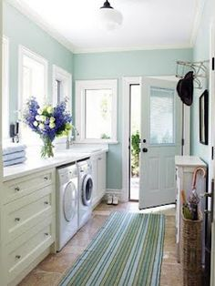 love the wall color in this laundry room