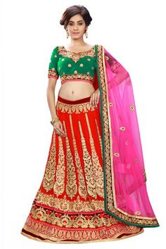 Red and Green Colour Georgette Fabric A Line Lehenga Choli Comes With Matching Blouse and Dupatta. This Lehenga Chloli Is Crafted With Thread Work,Zari Work,Lace Work,Patch Work,Embroidery. The Leheng...