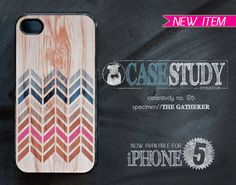 iPhone 4 or iPhone 5 Case - The Gatherer: A wood texture with blue and pink tribal chevron pattern. on Etsy, $18.00