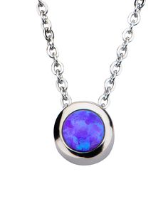INOX Jewelry Purple Synthetic Opal Pendant Necklace   zulily  . $22.99 $78.00      Product Description:  Frame your face in elegance with these dazzling studs boasting a stainless steel and crystal finish and chic star design.      Rose gold-plated base metal / preciosa crystal     Imported