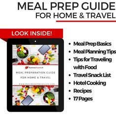 Healthy travel tips for finding healthy food and preparing it on the go! Recipes included!   http://businesstravellifestore.com/products/meal-prep-guide-for-home-and-travel