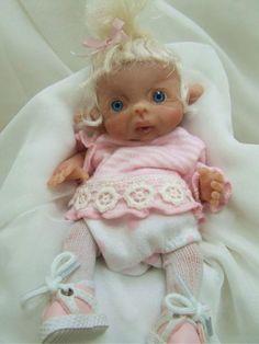 fairy and elves soft dolls   ... Sculpted Polymer Clay Baby Girl Leprechaun Fairy Elf Art Doll Poseable