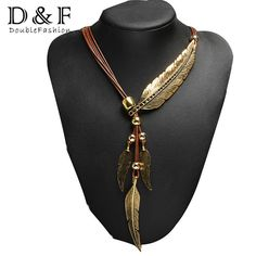 2016 New Arrival Brand Big Luxury Statement Pendant Necklace Vintage Maxi Women Accessories Rope Chain Feather Pattern
