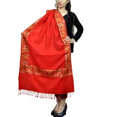 Kashmir Villa Ravishing Red Color Aari Work Embroidered Stole with Designer Borders Pattern