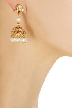 Gold finish kundan drop jhumki earrings available only at Pernia's Pop-Up Shop.