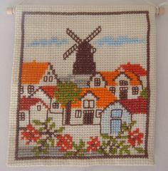 vintage cross stitch dutch scene from etsy seller thriftyfish