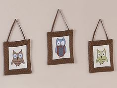Owl Fabric 3pc Fabric Wall Hangings