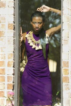 Purple pencil Dress with lovely side gathers! Yes, please!