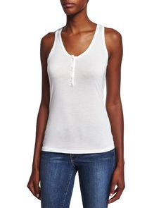 Le Henley Scoop-Neck Tank, Blanc, Size: SMALL - FRAME