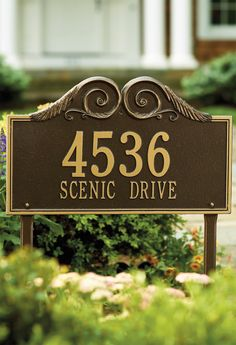 With our Regal Address Plaque, a crescendo of scrolls announces your address in elegant style.