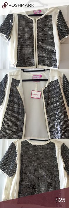 Square sequin crop jacket Ivory crop jacket that comes to waistline has square sequins all over. Very cute ! Never worn! Fumblin foe Jackets & Coats