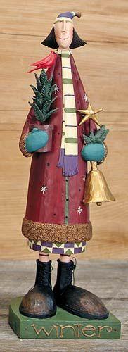 Winter Calendar Girl Figurine – Everyday Folk Art Figurines & Collectibles – Williraye Studio