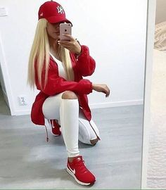 a blond teen girl taking a selfie in a mirror A tomboy street style look with White Jeans and Red Nike Sneakers and a Red Jacket Cute Swag Outfits, Sporty Outfits, Teen Fashion Outfits, Cute Fashion, Stylish Outfits, Fall Outfits, Fashion Looks, Red Sneakers Outfit, Sneaker Outfits Women