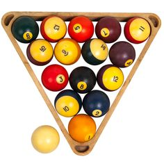 Set of Pool Balls with Rack http://www.bureauoftrade.com/product/set-of-pool-balls-w-rack/ #BureauOfTrade