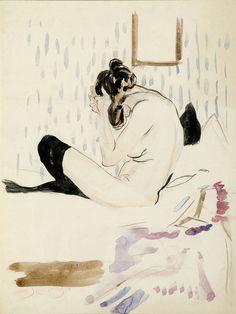 Zittend naaktmodelmet zwarte kousen   (Seated Nude)  - Jan Sluijters 1906Dutch painter 1881-1957Pencil, black chalk,watercolour and ink on paper