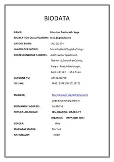 26 best Biodata Format images in 2014 | Bio data for