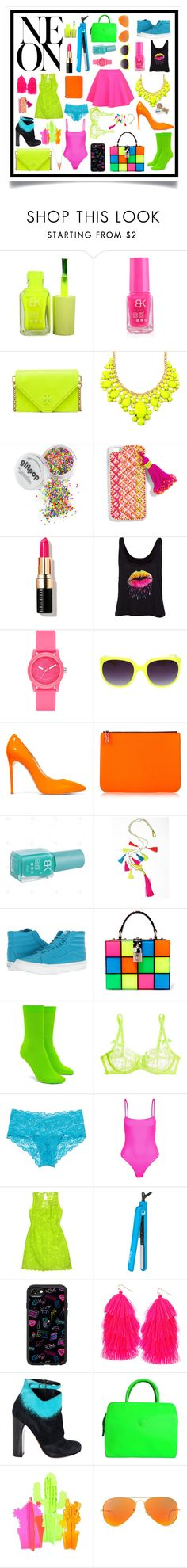 """Neon"" by akjdmt ❤ liked on Polyvore featuring Tory Burch, UNIF, BaubleBar, Bobbi Brown Cosmetics, Skechers, Casadei, Kenzo, Vans, Dolce&Gabbana and Forever 21"