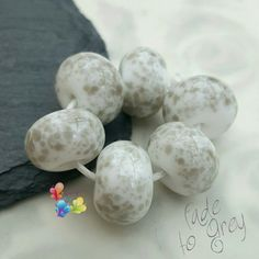 Lampwork Beads Fade To Grey Fritties by GlitteringprizeGlass  Fade to grey  Cute beads in soft greys, using my own exclusive frit blend!  #glitteringprizeglass #lampwork #grey #handmade #beads