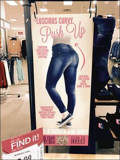 """The campaign originators may have hesitated, but I need not, rightly calling this S-Hook-hung merchandising an """"Enhance Your Ass Push-Up"""" Display. The illustrations are suggestive, so why not the h."""