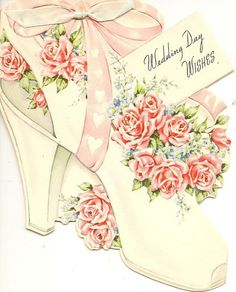 i particularily like this vintage large shoe wedding card made in Canada. Vintage Wedding Photos, Vintage Bridal, Vintage Images, Vintage Weddings, Vintage Holiday, Wedding Day Wishes, Wedding Anniversary Cards, Wedding Bells, French Greetings