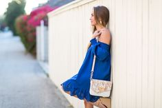 Dreamy cobalt blue off-the-shoulder dress with lacey detail that's under $20! Perfect summer dress! #HelloGorgeous