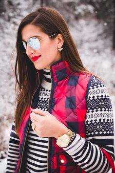 buffalo check vest, buffalo plaid quilted vest, excursion vest, red hunter boots, tour packable boots, new england winter, snow photoshoot, snow new england, snow outfit, holiday outfit, holiday outfit ideas, holiday fashion, holiday style // grace wainwright from a southern drawl