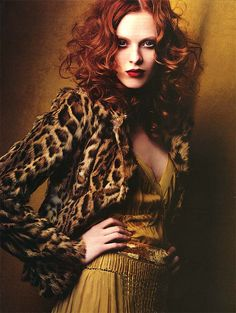 leopard, karen elson, red hair